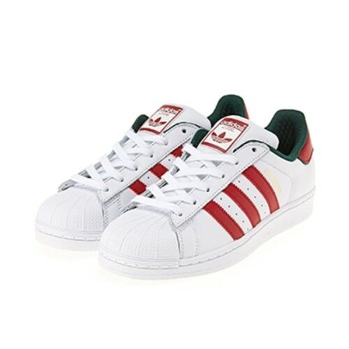 New Adidas Men's Superstar Unisex shoes Sneakers - White Red Green(D96974)