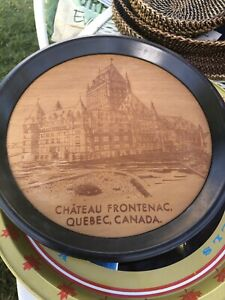 Vintage-Chateau-Frontenac-Quebec-Canada-Souvenir-Serving-Tray-Wood-amp-Metal-11