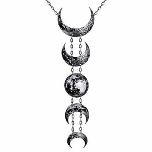 Restyle-Lunar-Full-Crescent-Moon-Occult-Witch-Antique-Silver-Multi-Drop-Necklace