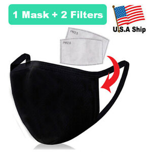 Organic Cotton Face Mask With Filter Pocket Reusable Washable 2 Filters Incl Ebay