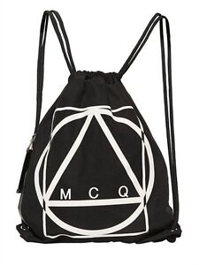 Details About Mcq By Alexander Mcqueen Black Logo Drawstring Backpack Uni Bnwt