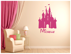 "Disney Castle with Name Vinyl Wall Sticker Decal 22/""x34/"" Colors  Bedroom Nursury"
