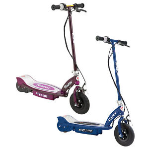 Razor E100 & E125 Kids 24V Electric Battery Powered Toy Scooters, Blue & Purple