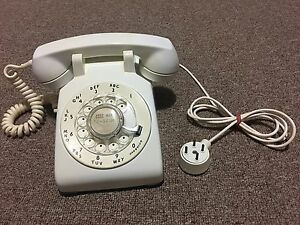 Rotary Phone Western Electric Desk Model C/D 500 White 1959 All Original.