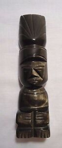 Black Obsidian Gold Sheen Stone Carved Figurine ~ Idol ~ Tiki ~ Healing Powers
