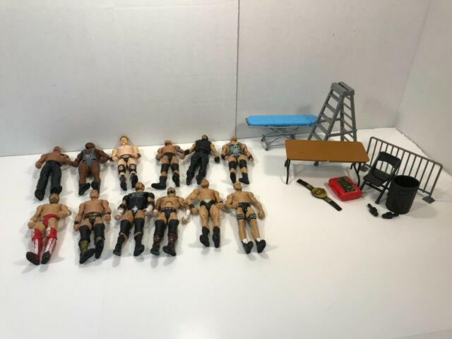 WWE Wrestling Action Figure Lot of 12 Figures & Accessories