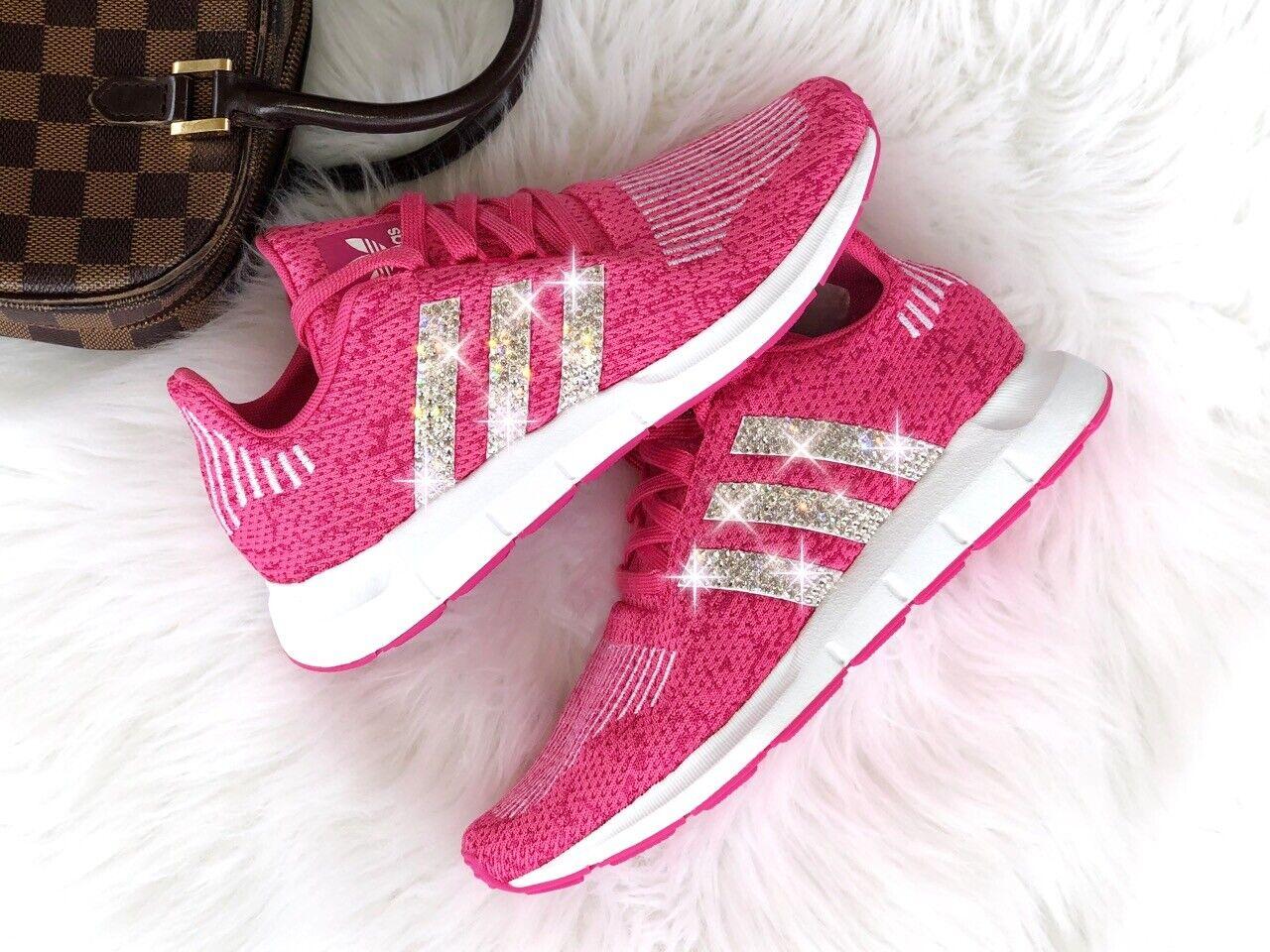 Crystal Adidas Swift Run J Luxus Sneakers mit Swarovski Elements pink   pink