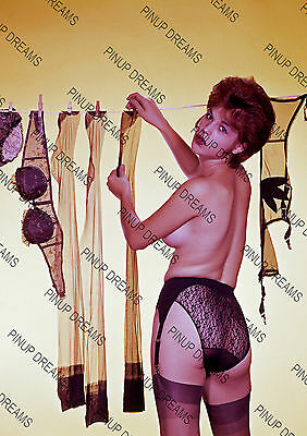 Vintage Pin-up Poster Print of Lady Pegging washing on the line in Panties #1