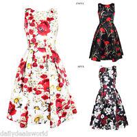 WOMENS 40's 50's RETRO VINTAGE FLARED ROCKABILLY TEA DRESS MANY PRINTS NEW S-XL