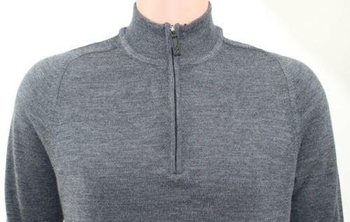 KIRKLAND Men/'s 1//4 Zip JUMPER Extra Fine Merino Wool GREY Charcoal Sweater SMALL