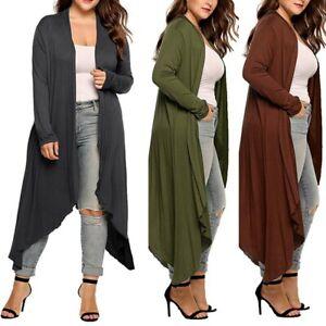 Womens-Long-Sleeve-Boyfriend-Long-Cardigan-Top-Open-Irregular-Coat-Jacket-US