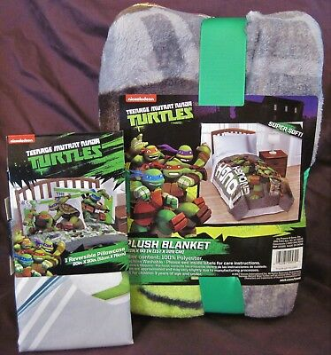 TMNT Teenage Mutant Ninja Turtles Twin Throw Blanket and Pillowcase tough enough