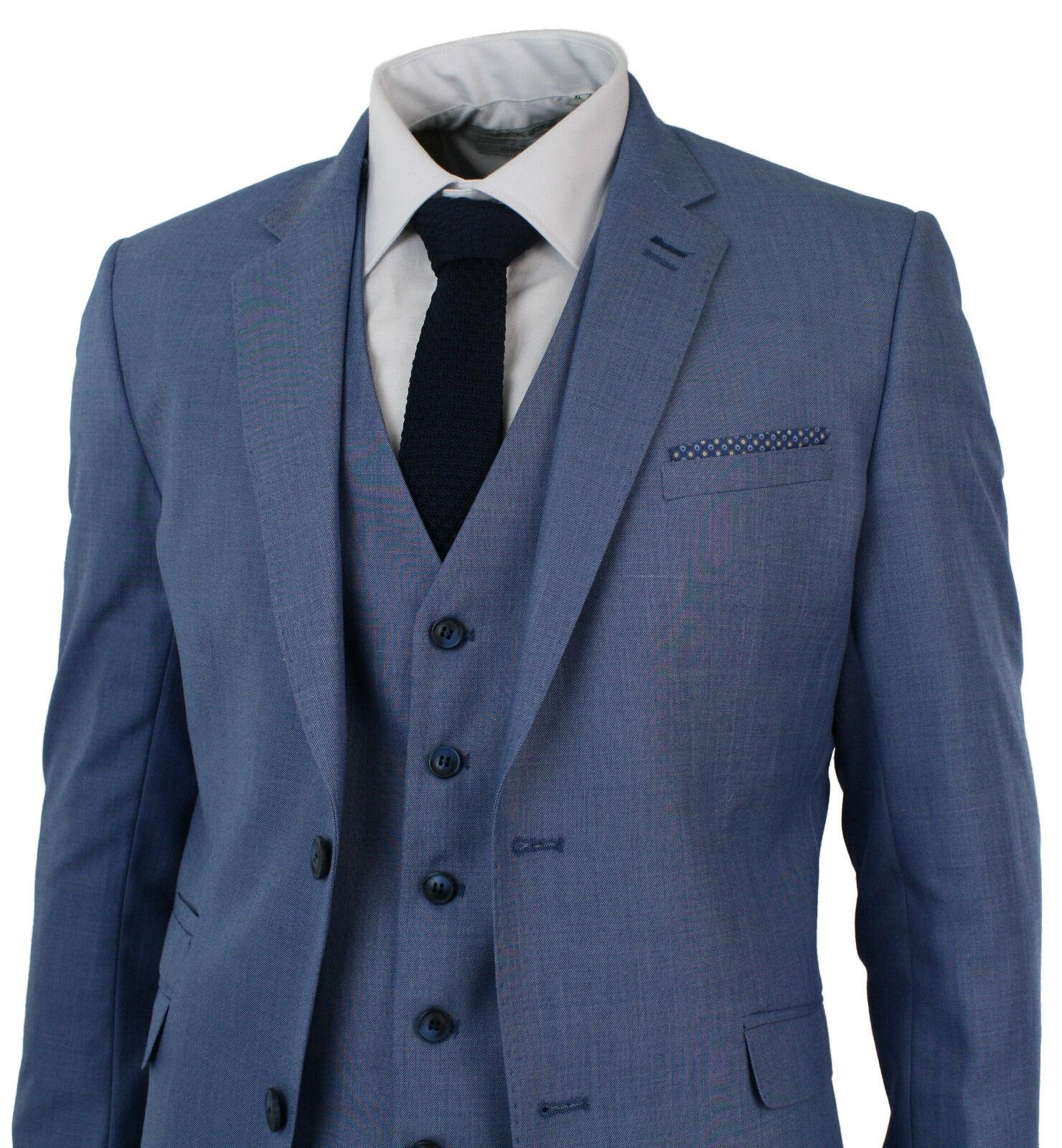 Herren Light Sky Blau 3 Piece Smart Formal Wedding Party Suit TailoROT Fit