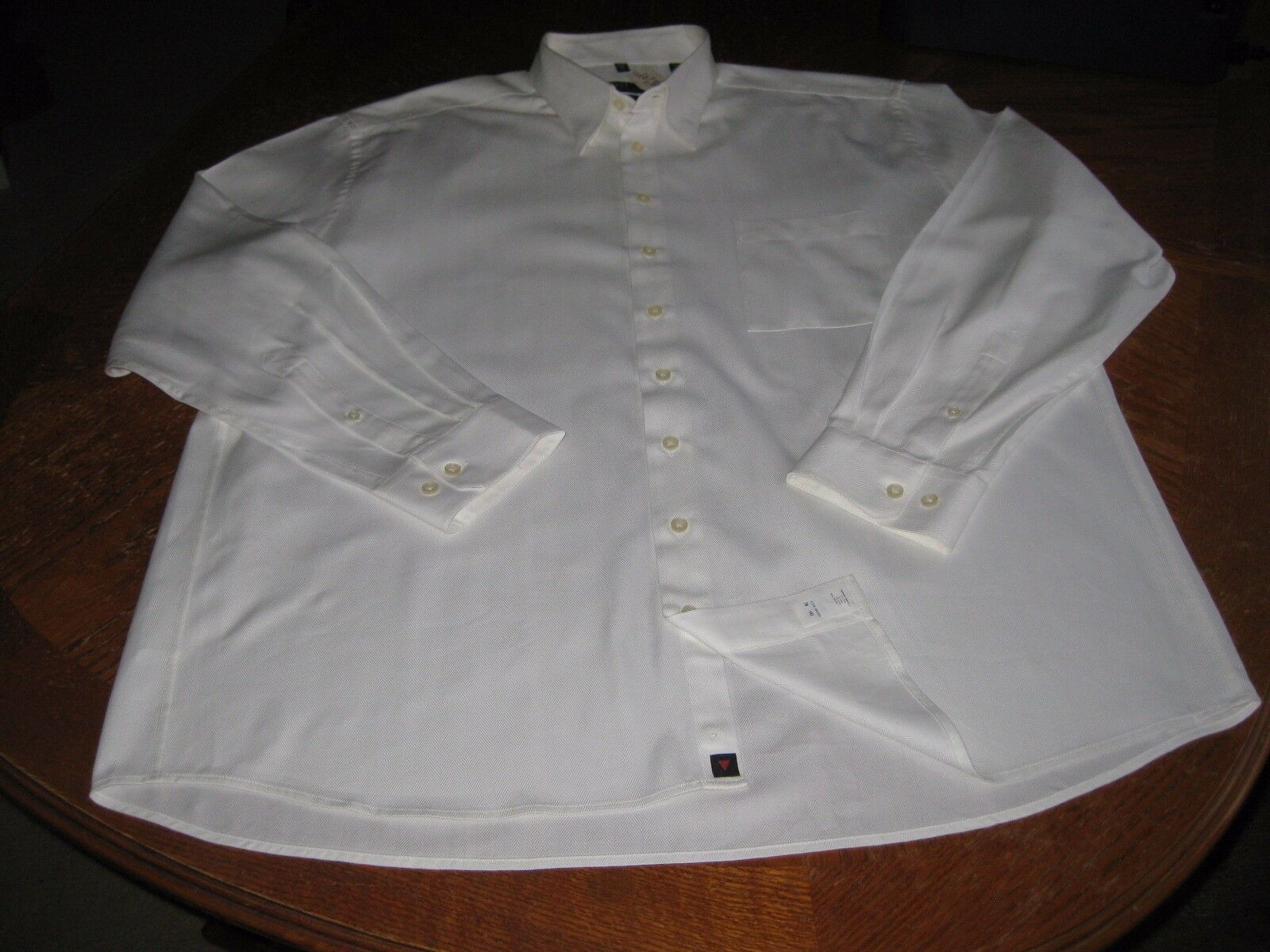 Haupt Mens Two Ply White Button Front Long Sleeve Shirt XXL 46 18 NWT