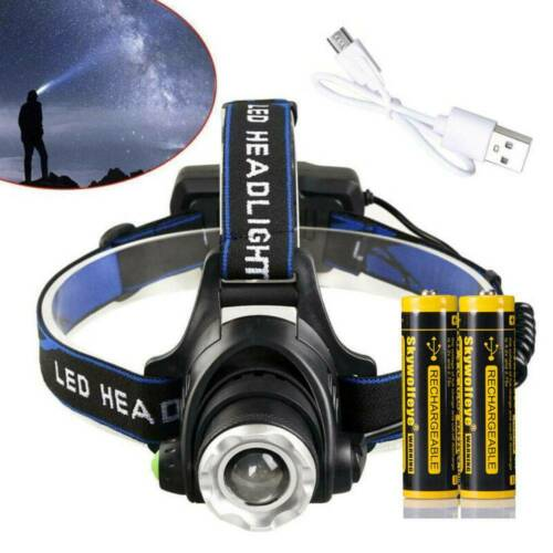 2Set Zoomable  LED 350000Lumens Rechargeable Headlamp USB Headlight Head Torch