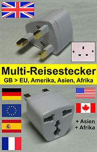 reiseadapter reisestecker steckdose adapter f r england schottland wales ebay. Black Bedroom Furniture Sets. Home Design Ideas