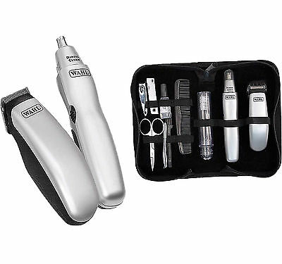 NEW MENS WAHL GROOMING GEAR TRAVEL KIT BATTERY HAIR EAR AND NASAL TRIMMER SET