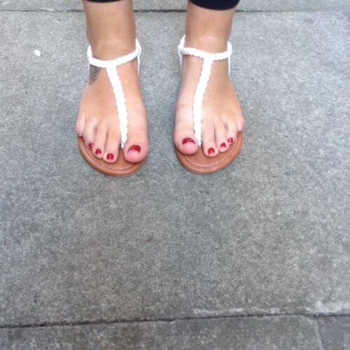 AEROPOSTALE Blanc Tressé Sandales Tongs comme Havianas Taille 5 BNWT RRP $29