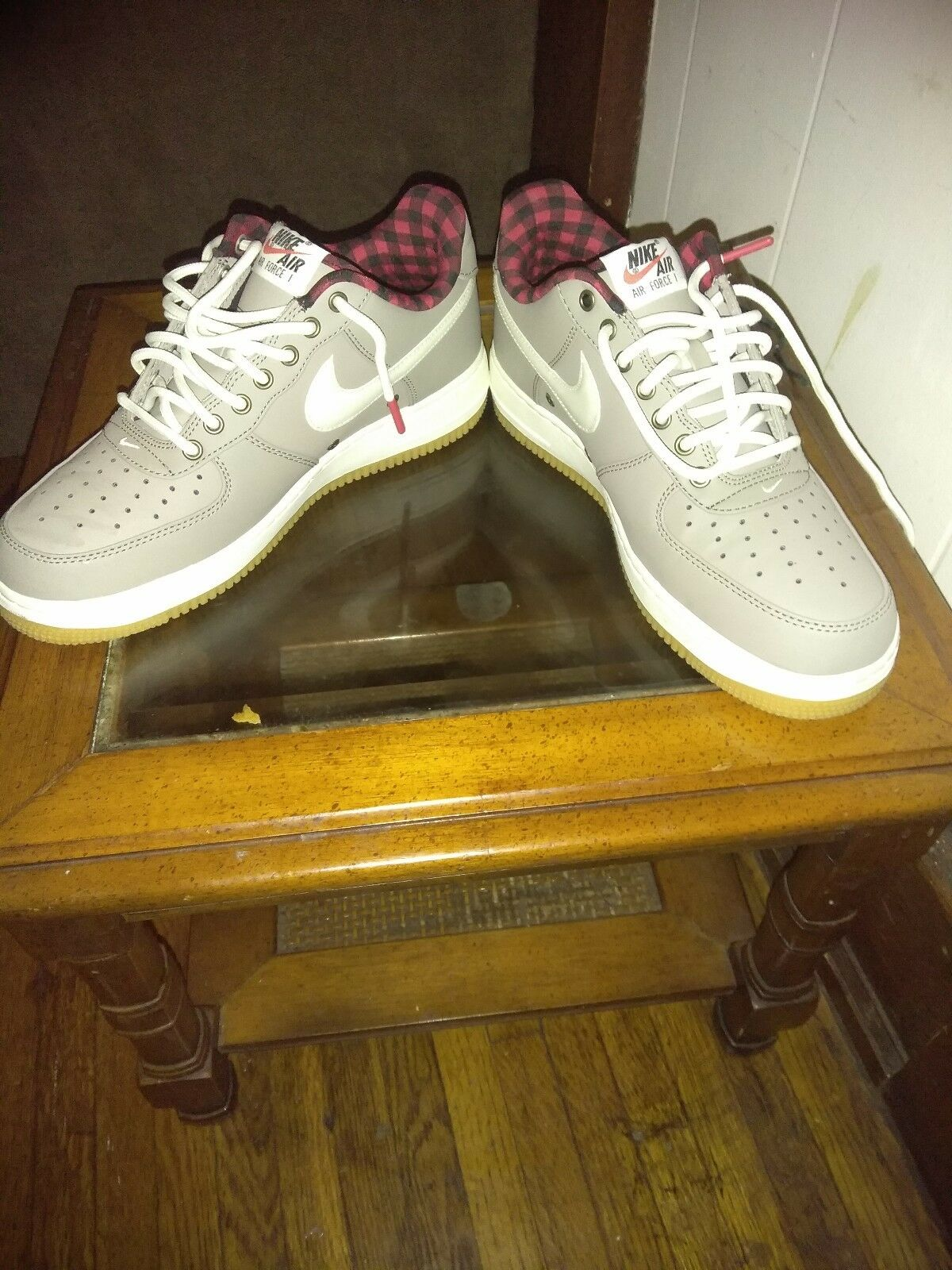 men gray white red and black forces size 8.5