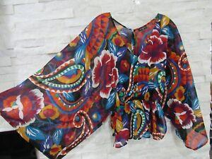 Etro Colorful Sheer Cotton Paisley Kimono Sleeve Boho Peasant Top Blouse 42