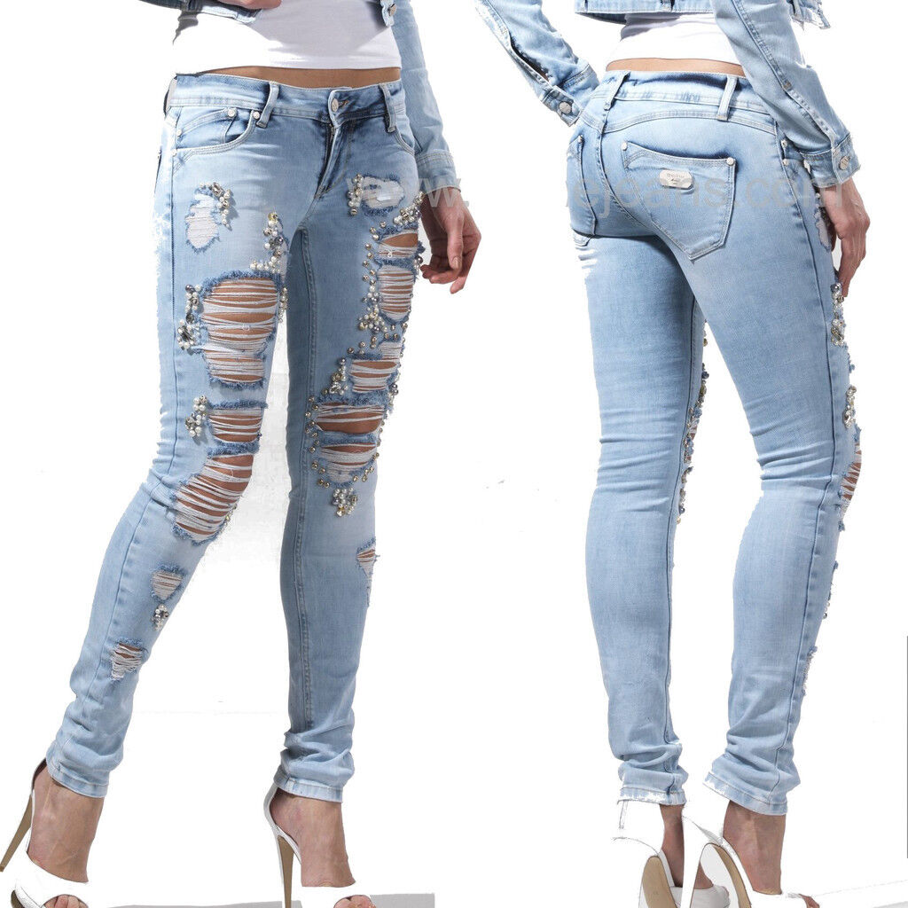 DISHE handmade jeans donna JEANS PANTALONI DONNA PANTALONI hüftjeans jeans a sigaretta 34-38  d2