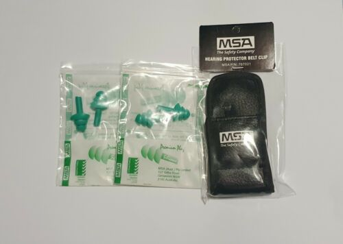 MSA SILICONE REUSABLE Ear Plugs 2 Pair /& 2 Leather Belt Clip Storage Pouch