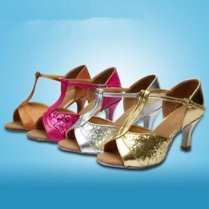 Womens-Party-Sequins-Heels-Prom-Salsa-Waltz-Latin-Tango-Ballroom-Dancing-Shoes