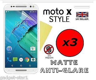 3x HQ MATTE ANTI GLARE SCREEN PROTECTOR COVER GUARD FOR MOTOROLA MOTO X STYLE