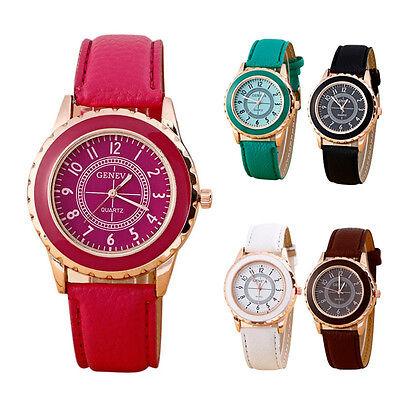 2015 Fashion Women Watch Faux Leather Band Strap Geneva Analog Quartz Wristwatch