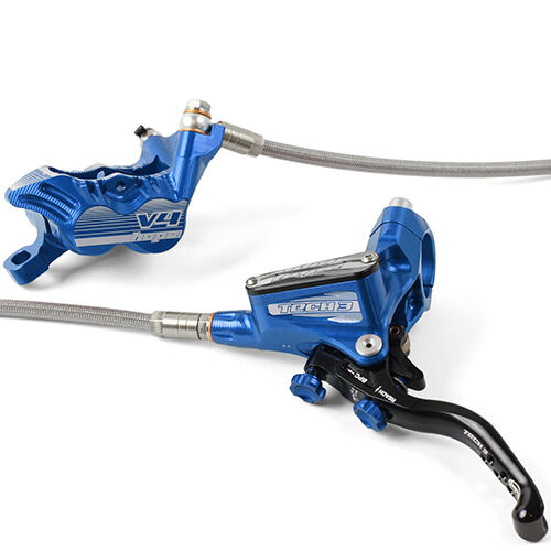 Hope Tech 3 V4 blu Front & Rear Braided Hose Brake Set w Floating rossoors New