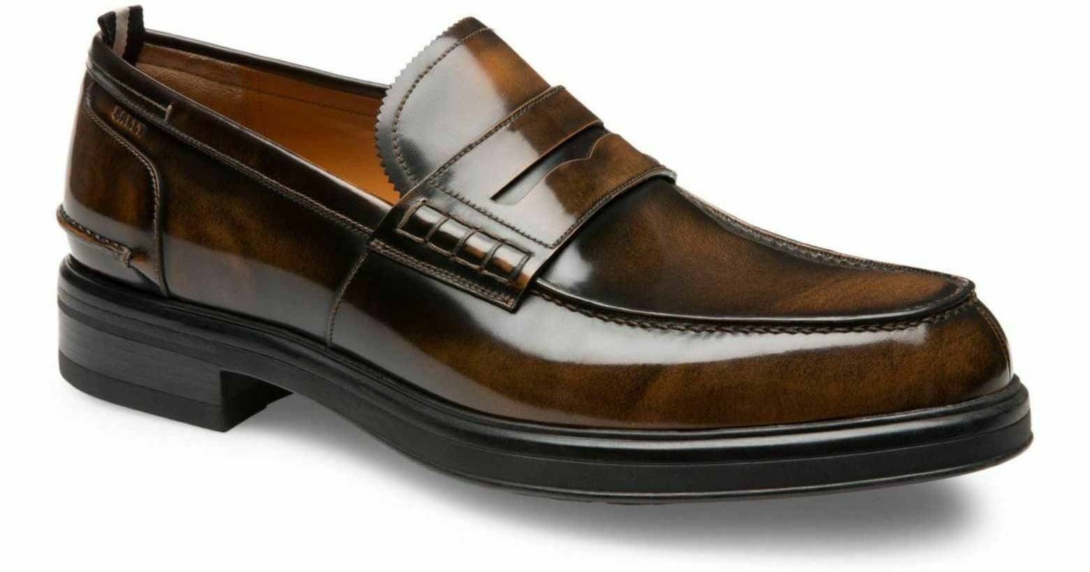 NIB BALLY MODY Marroneee HONEY BRUSHED LEATHER PENNY LOAFERS 12 US 45 SWISS