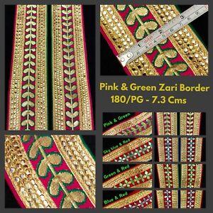 04cdb4e9785a Details about 2 Yard Pink Gold Border Indian Suit Saree Zari Border SewOn  Craft Gota Trim Lace