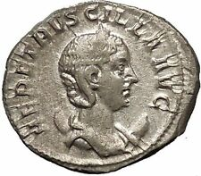 Herennia Etruscilla Hostilian mom Silver Ancient  Roman Coin Modesty Cult i52316