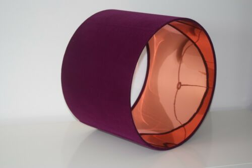 or Contrast Cotton Lining Ultra Violet Purple Velvet Brushed Gold Lampshade