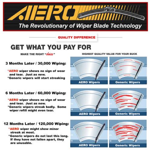 """Set of 3 AERO Chevrolet Venture 2005-1997 24/""""+24/""""+16/""""Premium Beam Wiper Blades"""
