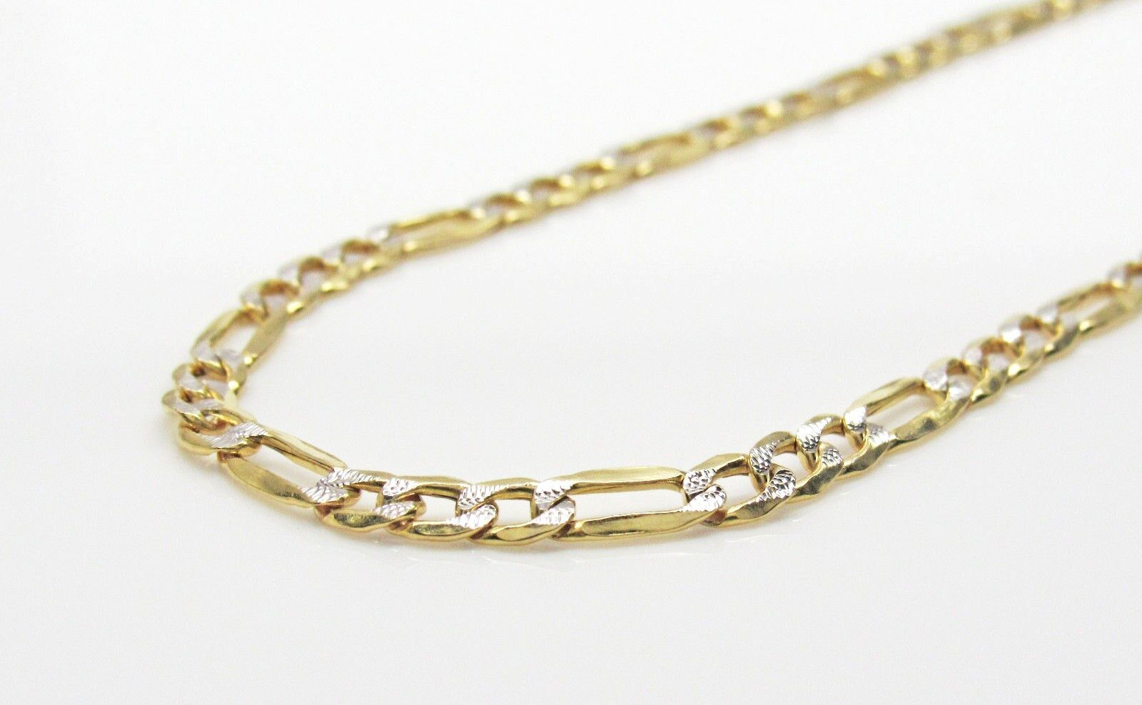 10K gold Diamond Cut Figaro Chain 22 Inches 3.5MM 4.3 Grams