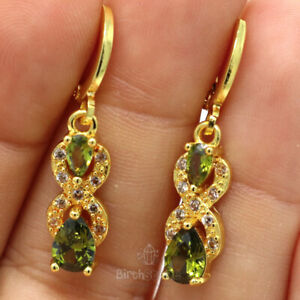Gorgeous-Pear-Peridot-Earrings-Women-Engagement-Jewelry-Gift-Yellow-Gold-Plated