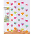 Set of 12 Candy Hearts String Decorations for your Valentine's Day party