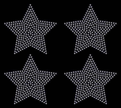 4x 100mm Filled Star iron on Rhinestone Transfer crystal hotfix t-shirt transfer