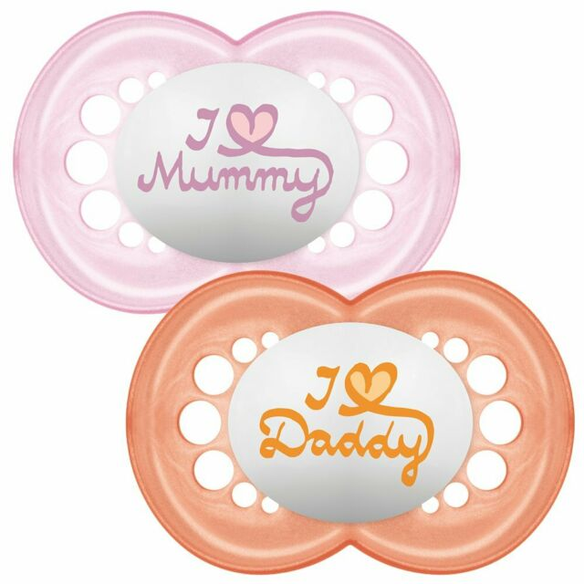 Mam Style I Love Mummy And Daddy Dummy Soother Pacifier For 0 Months 2 Pack New