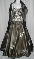 Formal Ball Gown Dress Party Prom Evening Gala  Pageant BlackChampagne S/Fit 6