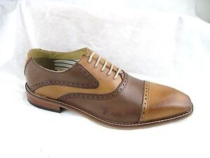 Giorgio-Brutini-Rote-brown-tan-captoe-saddle-dark-brown-dress-oxfords-shoes-9-5