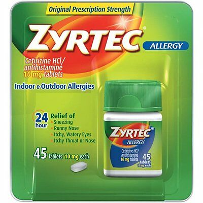 Zyrtec Allergy Relief Tablets 45 Count EXP 02/2019 or better New In Sealed  Box