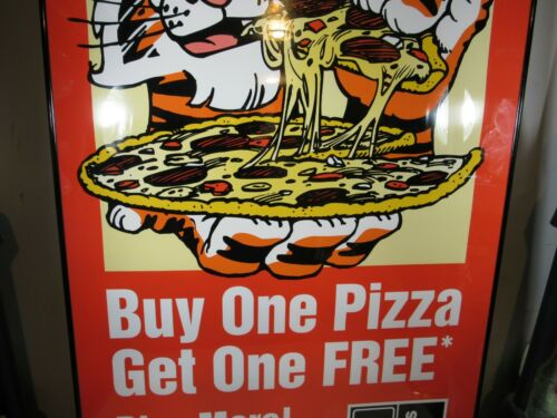 Vintage Exxon Tiger Domino/'s Pizza Buy 1 Get 1 Poster NOS Rare HTF Sign No Frame