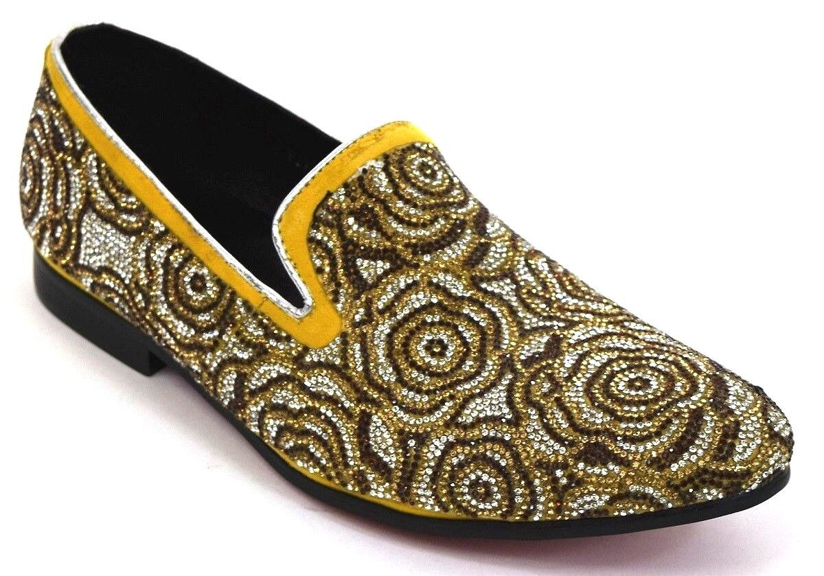 Men's Dress Casual Fancy shoes Slip On Loafers Brown gold Rhinestones FIESSO