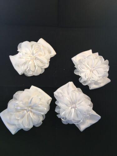 Newborn toddler Baby Girls Peal Satin flowerHeadband Hair Band Accessories