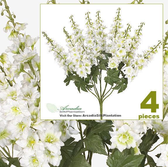 4 26  Artificial Delphinium Silk Flower Bushes Wedding
