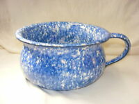 Vintage Pottery Stangl Blue Spongeware Town and Country Handled Chamber Pot Bowl