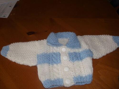 Nuevo Tejido a Mano Bebé Chicos Azul y Blanca Aran Cárdigan con cuello