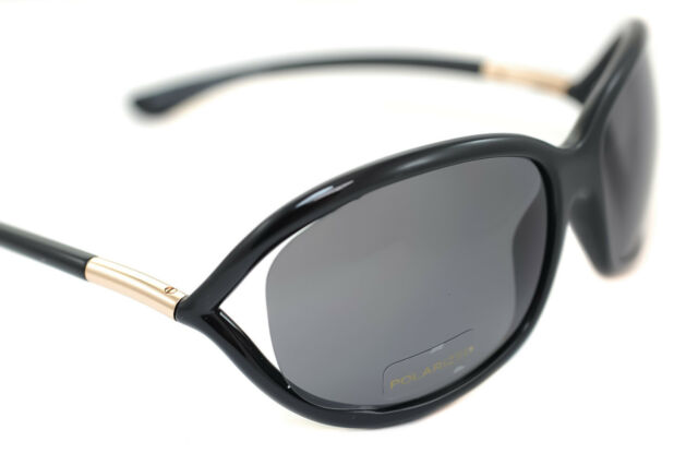TOM FORD LIORA WOMENS LARGE OVAL SUNGLASSES BLACK GOLD GREY GRADIENT FT 0528 01B